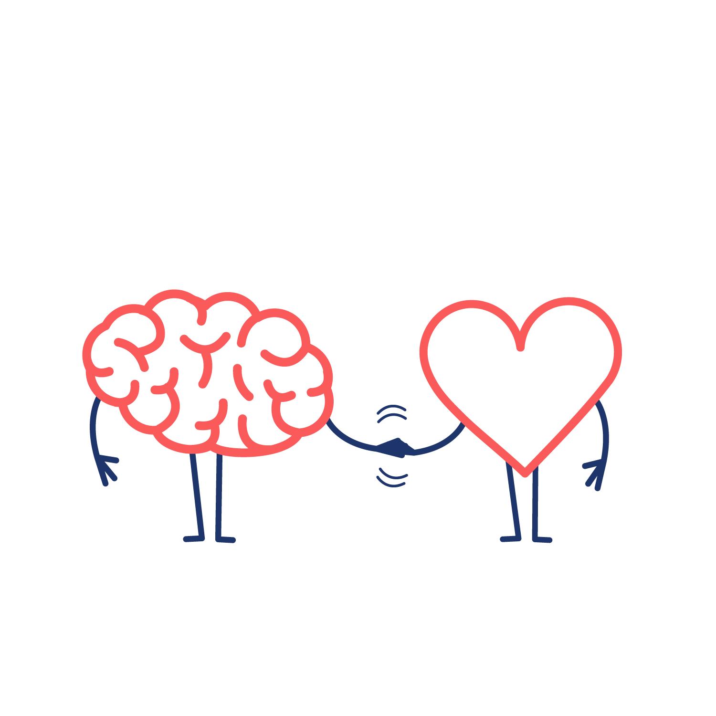 cérebro e coração trabalhando juntos