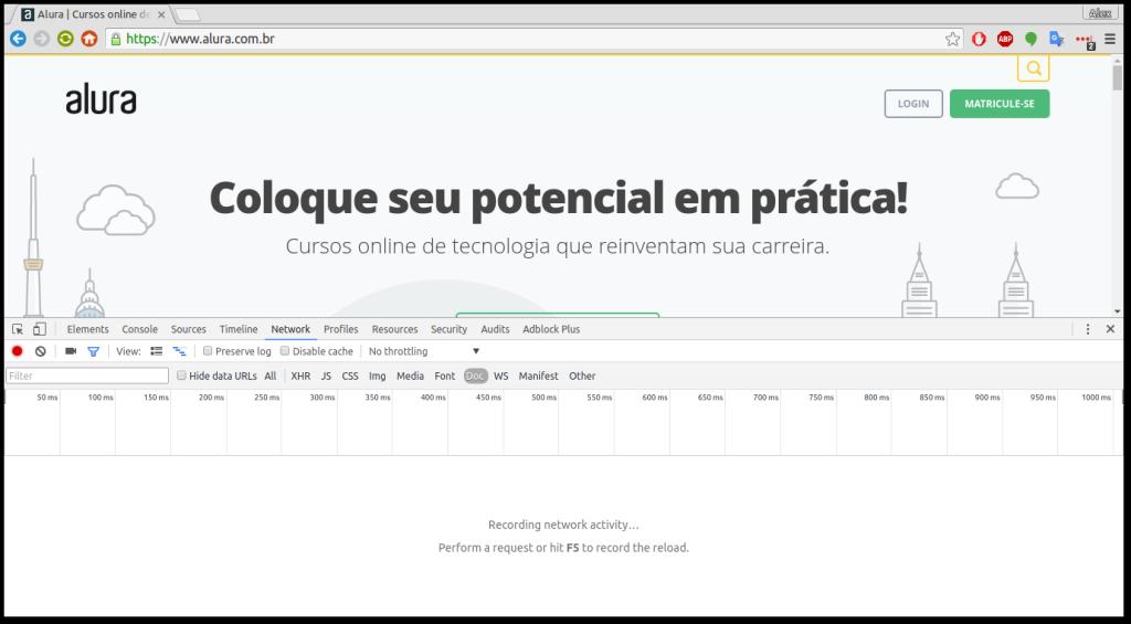 pagina-do-alura-no-modo-network
