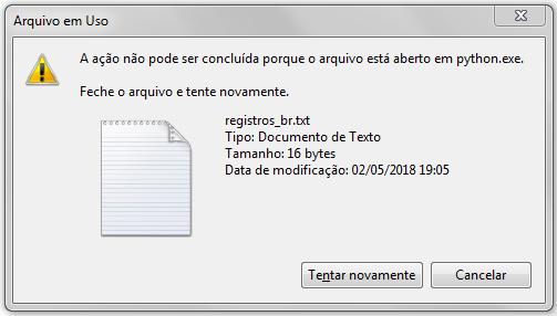 Erro de arquivo aberto no Windows