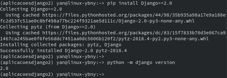 Instalação do Django 2.0 em nossa virtualenv