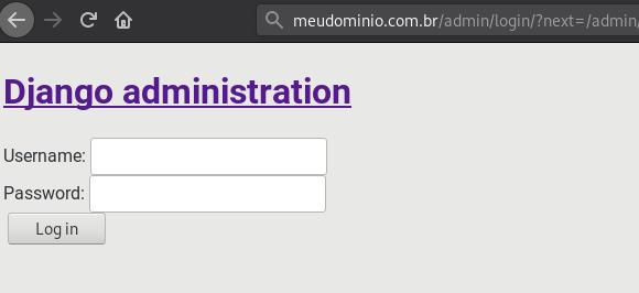 Página de admin de nossa aplicação Django sem os arquivos CSS carregados