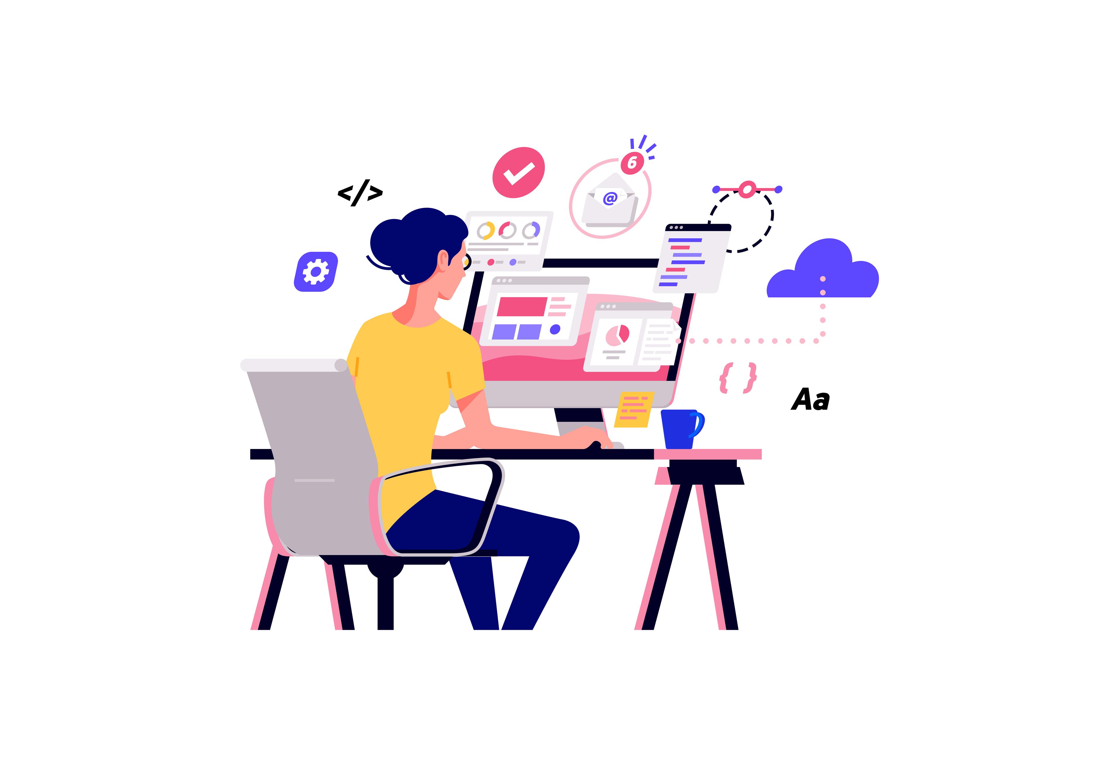 Uma ilustração de uma mulher trabalhando com tecnologia