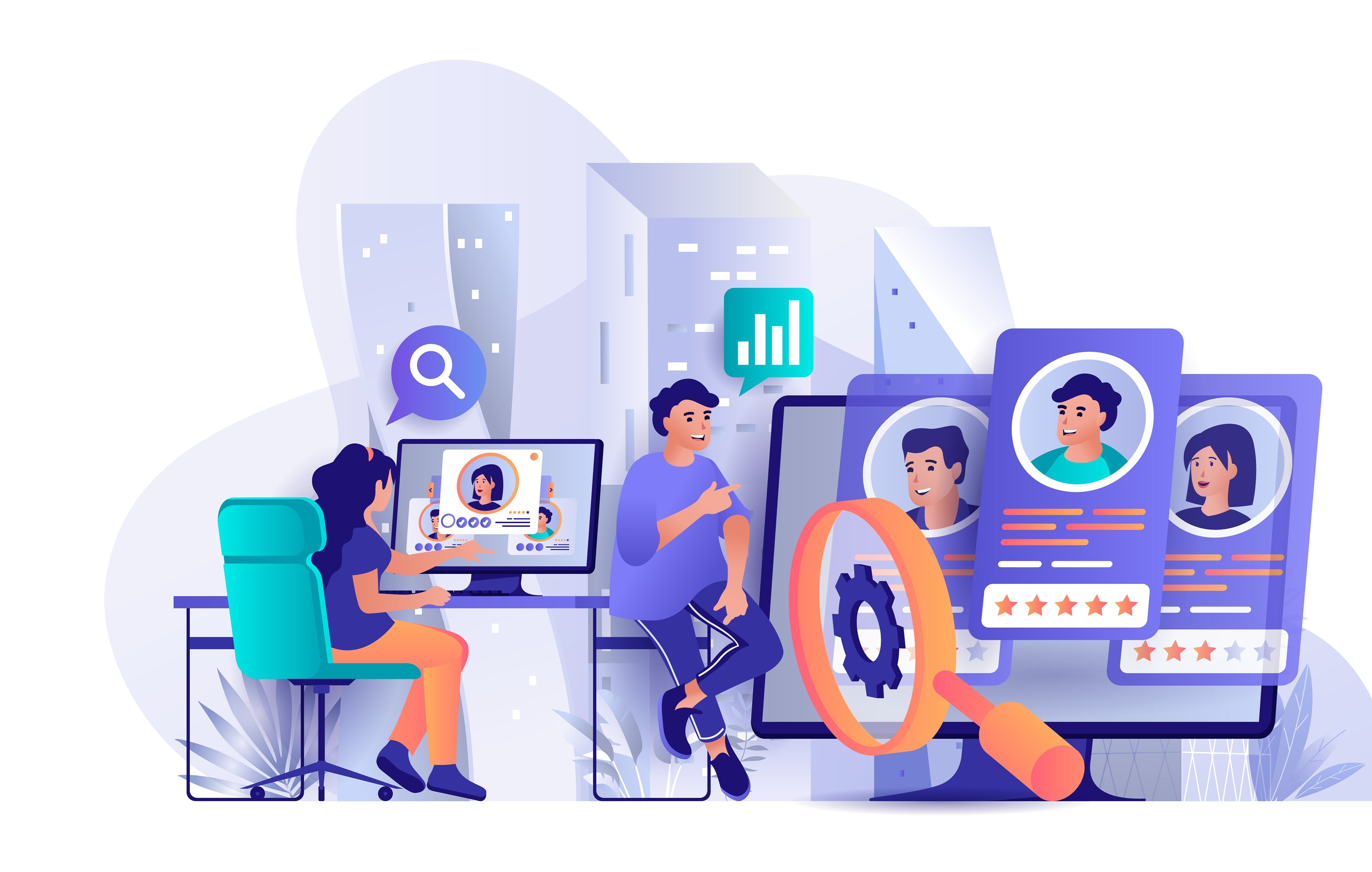 A esquerda uma recrutadora sentada em frente ao computador, analisando perfis de candidatos e, a direita, um homem com uma lupa grande analisando painéis de candidatos.
