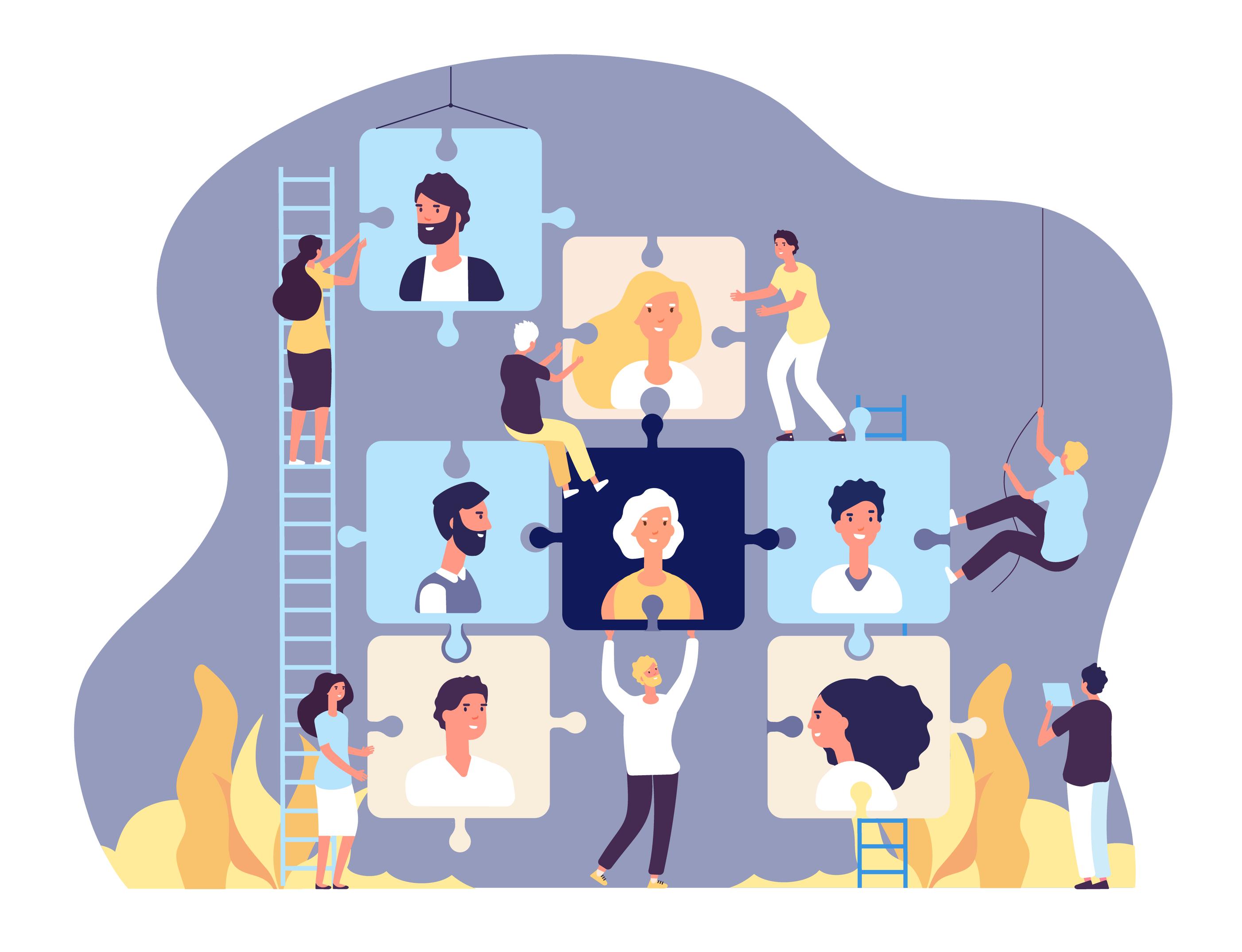 Uma escada à esquerda com duas mulheres colocando peças de quebra-cabeça com rostos de funcionários, no centro uma mulher embaixo das peças e à direita uma escada menor e uns homens ajudando na organização.